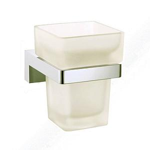 Eau Xel Square Wall Mounted Chrome Glass Tumbler Holder Cup & Toothbrush Holder - SALE